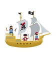 Pirate ship with pirates cartoon flat vector image