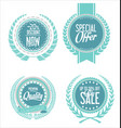 retro vintage blue labels collection vector image vector image