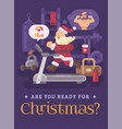 santa claus exercising and getting into shape for vector image vector image