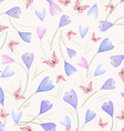 seamless texture with crocuses and butterflies vector image