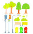 set of stylized tree and public park element on vector image