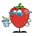 Strawberry Cartoon Character Juice Drink vector image