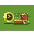 Suitcase and safe with money vector image vector image