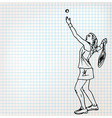 Tennis players sketch vector image vector image