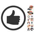 thumb up icon with dating bonus vector image
