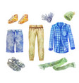 watercolor mens clothing collection on white vector image vector image