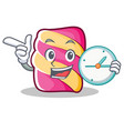 with clock marshmallow character cartoon style vector image