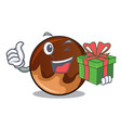 with gift chocolate donut mascot cartoon vector image vector image