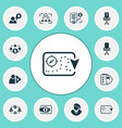 work icons set with business strategy financing vector image vector image