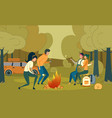 young people sitting around campfire at night time vector image vector image