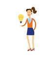 young woman having idea - smiling vector image vector image