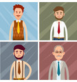 set of four icons of male characters graphic art vector image
