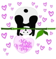 greeting card for valentine s day panda vector image