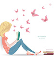 Cute girl is reading a sweet book vector image