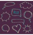 set of hand-drawn speech bubbles vector image