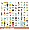 100 launch icons set flat style vector image vector image