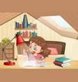 a girl learning in bedroom vector image