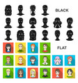 avatar and face flat icons in set collection for vector image vector image