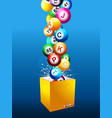 bingo jackpot balls on a box over blue background vector image vector image
