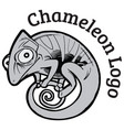 black and white chameleon logo template vector image vector image