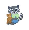 Boy Raccoon With Teddy Bear vector image vector image