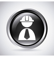 builder in silver button isolated icon design vector image