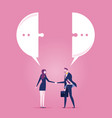 businessman and businesswoman meeting with a vector image