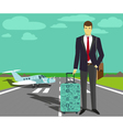 Businessman at take-off runway vector image vector image