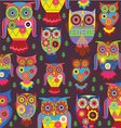 cartoon owl pattern dark background vector image vector image