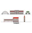 china tianjin city flat landmarks vector image vector image