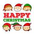 Christmas theme with santa and elf vector image vector image