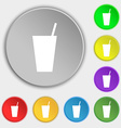 cocktail icon sign Symbol on five flat buttons vector image vector image