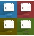 Color set Car battery Flat modern web button with vector image