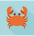 crab icon flat design with long shadow vector image vector image