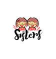 crayon hand drawing two sisters logo symbol vector image vector image