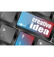 creative idea on computer keyboard key button vector image vector image