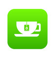 cup of tea with tea bag icon digital green vector image vector image