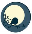 cute bird sitting on tree branch night scene with vector image
