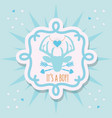 cute blue its a boy deer emblem sticker card vector image