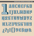 dark blue striped alphabet set vector image