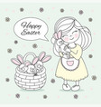easter girl great religious holy holiday cartoon vector image vector image