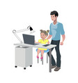 father watching girl doing homework vector image vector image