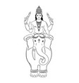 hindu god indra sitting on the elephant vector image