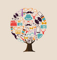 hipster fashion concept tree of vintage icons vector image