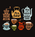 hot drinks tea coffee label set collection vector image