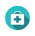 icon of medicine chest with long shadow in flat vector image vector image