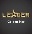 leader golden star inscription icon vector image vector image