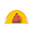 male person in tent isolated man in shelter vector image vector image