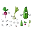 Radish zucchini and onion vegetables vector image vector image