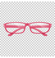 realistic pink glasses on transparent background vector image